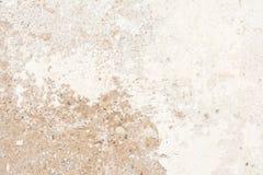 老古色古香的墙壁的纹理是白灰色棕色的,一部分的表面有膏药损坏的层数  库存照片