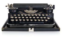 老古色古香的葡萄酒便携式的打字机,有波兰字母表的ke 免版税库存图片