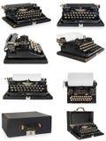 老古色古香的葡萄酒便携式的打字机,有p一个空白纸的  免版税库存图片