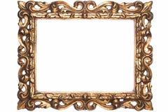 老古色古香的金木制框架 免版税库存图片