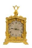 老古色古香的黄铜支架时钟 免版税图库摄影