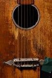 老吉他详细资料 免版税库存图片