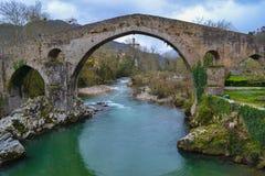 老和古老石桥梁在Cangas de Onis,阿斯图里亚斯,西班牙, 免版税图库摄影