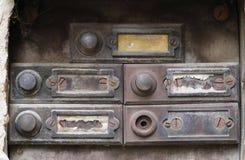 老和损坏的门铃- buttom 库存图片