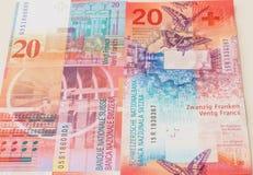 老和新的二十张瑞士法郎票据 库存图片