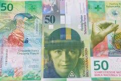 老和新的五十张瑞士法郎票据 库存图片