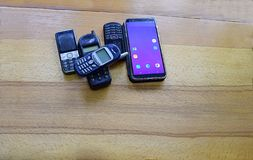 老和新的手机行  免版税库存照片