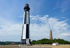 老和新的Cape Henry灯塔在弗吉尼亚海滩 库存照片