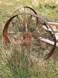 老和生锈的马车车轮草原 免版税库存照片