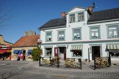 老和美丽如画的城市visby 免版税库存照片