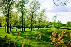 老和美好的七高八低的高尔夫球场 库存图片