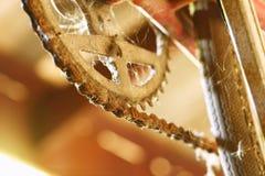 老和肮脏的自行车齿轮和链子 免版税图库摄影