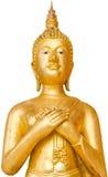 老和脏的金黄常设菩萨在泰国寺庙的公开 库存图片