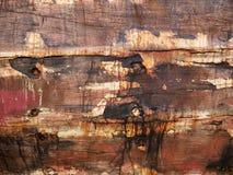 老和色的小船木船身细节和特写镜头,与镇压的老绘画和木纹理 库存照片