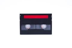 数字式老摄象机卡式磁带,黑与繁文缛节的盖子 图库摄影