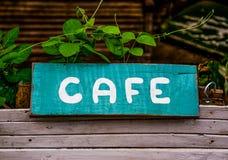 老咖啡馆标志 免版税库存照片