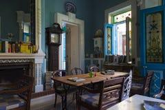 老咖啡馆 山举世闻名的村庄Pano Lefkara,塞浦路斯, 免版税库存照片