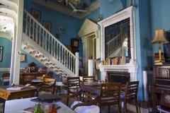 老咖啡馆 山举世闻名的村庄Pano Lefkara,塞浦路斯, 库存照片