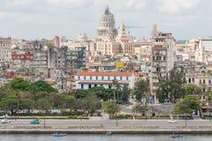 老哈瓦那包括国会大厦大厦 库存照片