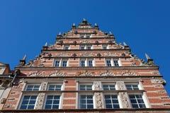 老商业同业公会的门面在布里曼,德国 免版税库存图片