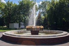 老喷泉在彼得罗巴甫尔俄国名字彼得罗巴甫洛斯克,哈萨克斯坦的城市公园 库存图片