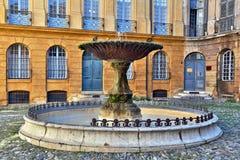 老喷泉在艾克斯普罗旺斯,法国 免版税图库摄影