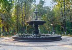 老喷泉在1900年被熔铸了用工厂期限 基辅,乌克兰 免版税图库摄影