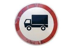 老圆的路标`在白色隔绝的没有物品车` 免版税库存图片