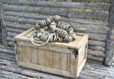 老土气渔条板箱 库存图片