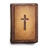 老圣经盖子,与十字架的葡萄酒皮革前面书纹理, 免版税库存图片