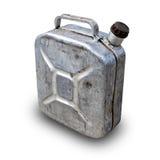 老在具体背景之上的汽油便壶罐头 库存照片
