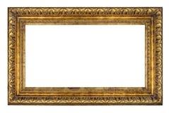 老在白色背景的葡萄酒金黄框架 库存照片