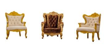 老在白色backgroun隔绝的葡萄酒皮革经典扶手椅子 库存照片