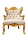 老在白色backgroun隔绝的葡萄酒皮革经典扶手椅子 免版税库存照片