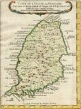 老地图手榴弹海岛1750 免版税库存照片