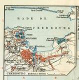 老地图1890,与瑟堡-奥克特维尔法国港口城市的计划的年 诺曼底 免版税图库摄影