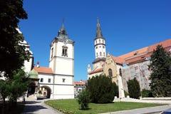 老地方和有教会的在Levoca 库存照片