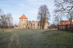 老城堡在Cesis,拉脱维亚 编译有历史 库存图片