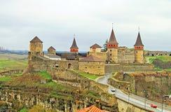 老城堡在Kamyanets-Podilsky,乌克兰 图库摄影
