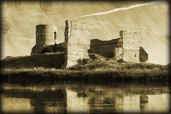 老城堡废墟Grunge照片  免版税库存照片