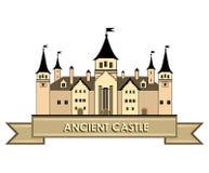 老城堡标签 减速火箭的徽标 免版税库存照片