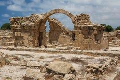 老城堡的废墟被修造在古老Pafos顶部 库存照片