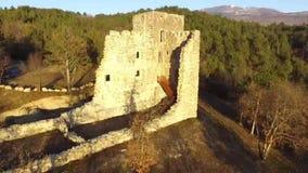 老城堡的废墟从空气的 股票视频