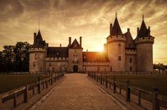 老城堡,玷污苏尔卢瓦尔河,法国大别墅日落的 免版税库存图片