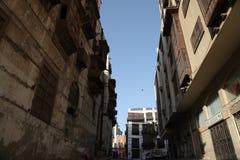 老城市在吉达,叫作`历史吉达`的沙特阿拉伯 老和遗产大厦和路在吉达 沙特阿拉伯15-06-2 免版税库存照片