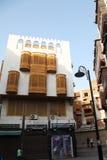 老城市在吉达,叫作`历史吉达`的沙特阿拉伯 老和遗产大厦和路在吉达 沙特阿拉伯15-06-2 库存照片
