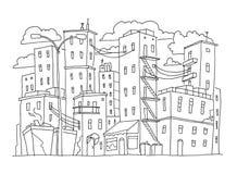 老城市大厦剪影镇 安置多层的户外街道窗口 手拉的黑线 免版税库存照片