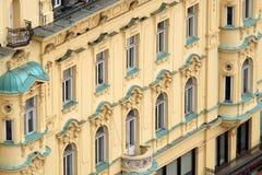 老城市大厦的门面在禁令Jelacic广场的在萨格勒布 图库摄影