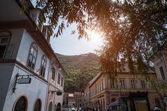 老城市布拉索夫,罗马尼亚透视风景  库存图片