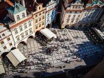 老城市广场在布拉格从上面射击了 免版税库存照片